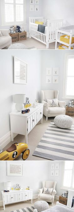 Gray and white with pops of yellow. Like the yellow bins in the changing table and the striped changing pad cover.