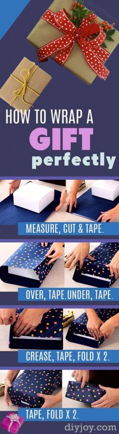 DIY Gift Wrapping Tutorial - Step by Step Instructions for Perfect Gift Wrapping. Christmas and Birthday Present Paper Tips http://diyjoy.com/how-to-wrap-a-gift-tutorial