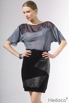 skirt with leather and T-shirt    [Hedoco + Edyta Jermacz]