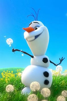 Olaf a HAPPY SNOWMAN in summer