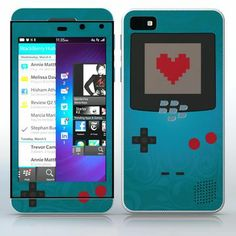 Blue Video Game Designer Device Flowered video game device pattern with heart phone skin sticker for Cell Phones / Blackberry Z10 | $7.95