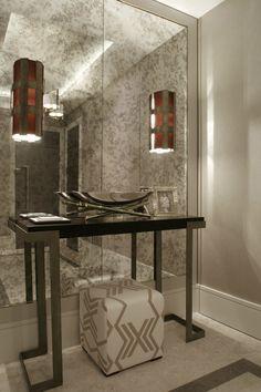 The studio harrods - london luxury 4 bed apartment luxury interior design, bathroom mirror wall Apartment Entrance, Apartment Interior, Interior Walls, Bedroom Apartment, Bedroom Interiors, Luxury Interior, Hallway Mirror, Hall Mirrors, Antique Mirror Walls