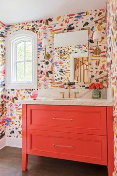 We're so honored to have one of our wallpaper installations and cabinet painting projects featured in this Houzz article, that we just had to share it! And we are tickled pink (orange?) by the playful and cheery design selections by the wonderful Crystal Confetti Wallpaper, Bold Wallpaper, Bathroom Wallpaper, Colorful Wallpaper, Wall Paper Bathroom, Gold Bathroom, Vinyl Wallpaper, Bathroom Curtains, Pink Wallpaper Decor
