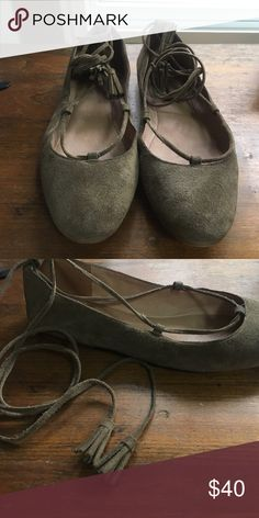 Madewell suede Inga flats Soft suede with rounded toe. Tassel tipped laces can be looped around the ankle or crisscrossed up the leg. Very gently worn - I decided that lace up is not my style, but still very comfortable and cute! Laces can be removed. Madewell Shoes Flats & Loafers