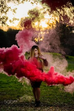 Red Smoke Grenade | Smoke Bomb Portrait | Smoke Grenade Photoshoot | Red streams | Golden Hour Photography | - Imagery By James Young: www.JamesYoungPhotography.com