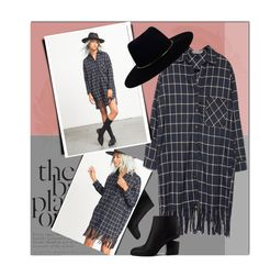"""Plaid Fringe Shirt Dress"" by acommonspace ❤ liked on Polyvore featuring Alexander Wang, Zimmermann, Fall, fringe, dress, plaid and shirtdress"