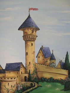 castle and dragon  mural as child room wall decoration  https://m.facebook.com/ArtKor77