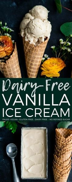The creamiest homemade dairy-free vanilla ice cream ever! Made with only 5 ingredients and is vegan, paleo, gluten-free & refined sugar free! #paleo #glutenfree #dairyfree #icecream #vegan #vanillaicecream #homemade #recipe #healthydessert #healthy  via @joyfoodsunshine
