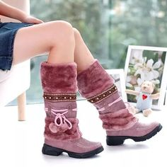 22.18$  Watch here - http://alizq0.shopchina.info/go.php?t=32775629261 - New Winter Women Snow Boots MId-Calf Nationality Women Casual Platform Booties Women Soft Fur Boot Female Strap Chaussures Femme 22.18$ #shopstyle