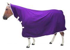 Large/Purple Showman ® Contoured polar fleece horse cooler with velcro front