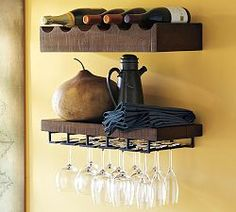 Floating Wall Shelves & Wall Organization | Pottery Barn to organize the wine, glasses, and other drinking paraphernalia.