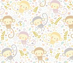 Little monkeys // by petite_circus // pastel peach gray purple cream // cute kids baby nursery // by petite_circus