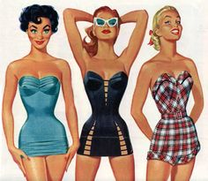 Vintage swim suits, illustration by Pete Hawley.