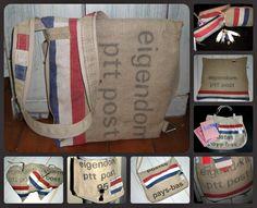 Tassen gemaakt van oude postzakken !  Door www.wats-on.nl