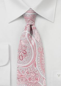 Paisley Tie in Coral Red and Silver | Bows-N-Ties.com