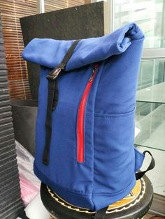 Canvas Rolltop Backpack   Navy Blue