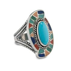 Carolyn Pollack Jewelry | Southwestern Blue Turquoise and Chip Inlay Bold Ring