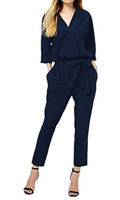 efaba1f6718 Enlishop Women s Casual Chiffon Half Sleeve Tie Waist Long Jumpsuit Romper  Black     Check out the image by visiting the link.