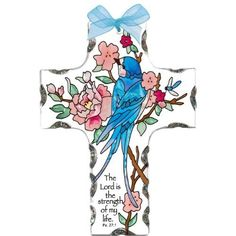 Joan Baker Designs SX2007 4-Inch by 5-1/2-Inch Swallow with Peonies Art Glass Cross Suncatcher by Joan Baker Designs. $13.92. Hand-chipped and polished border refracts light for extra sparkle. Translucent artwork looks beautiful from inside or outside the window. Coordinating organza ribbon bow. Hand-painted. A vivid blue swallow perches among the peonies on this lovely hand-painted art glass cross. For more than 40 years, Joan Baker Designs' talented artisans have cre...