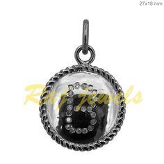 Natural Pave Diamond Designer Initial B Pendant 925 Sterling Silver Jewelry #Handmade #Pendant Initial Pendant, Diamond Design, Diamond Gemstone, Pocket Watch, Initials, Fine Jewelry, Pendants, Pendant Necklace, Gemstones