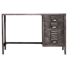 Give your home office a rugged appeal with the Aiden Lane Writing Desk. Espresso and industrial gray finishes pair with vintage file cabinet drawer fronts for a retro look you'll love.