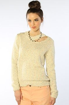 The Slash Neck Marled Sweater in Oat by Funktional