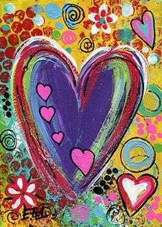 Fine Art Print Hearts Contemporary Modern by NYoriginalpaintings