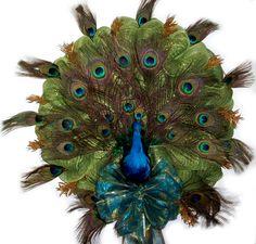 Peacock Deco Mesh Wreath  designed by Karen B., A.C. Moore Erie, PA #decomesh #wreath