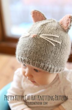 Kitty Kat babymutsje breien patroon gebreide door LittleRedWindow