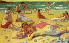 Games in the Sand (also known as Beach with Fighters) - Maurice Denis - WikiPaintings.org
