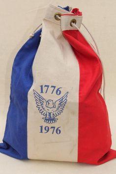 vintage red white & blue Bicentennial sail cloth canvas ditty bag, drawstring tote mailbag