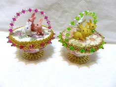 Vintage Easter Panorama Ornament Jeweled Bead Sequin Bunny Egg
