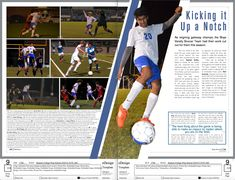 Varsity Soccer Page. #yearbook #layout #design #yearbooktheme #sportspage…