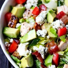Chicken, Bacon  Avocado Chopped Salad. Try 1:1 oil and vinegar in the dressing, rather than 3:1.