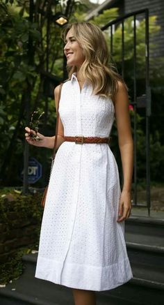 cotton lace dress with collar and buttons down the front
