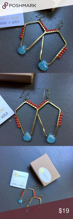 """Geo Drop earrings NIB geo drop earrings from Noonday Collection. Cherry colored glass beads trail along a hammered brass frame, while a natural stone bead provides the perfect contrast in sky blue. No trades. 2.75"""" x 1.5"""" Noonday Collection Jewelry Earrings"""