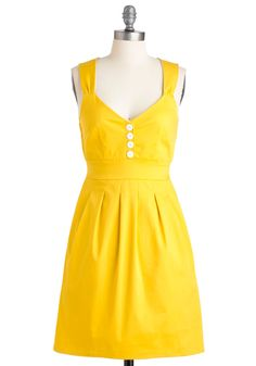 Sundress of My Life - Yellow, Solid, Buttons, Pleats, Pockets, Vintage Inspired, 50s, A-line, Spring, Summer, Mid-length