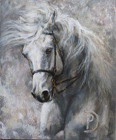 """Maleri """"Ninito"""". Akrylmaleri 50 x 60 cm. Portfolio – Horse art – by Lykke Bianca"""