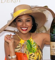 2012 Kentucky Derby.  Jeannie Mai.  Love the neutral hat with the colorful dress.