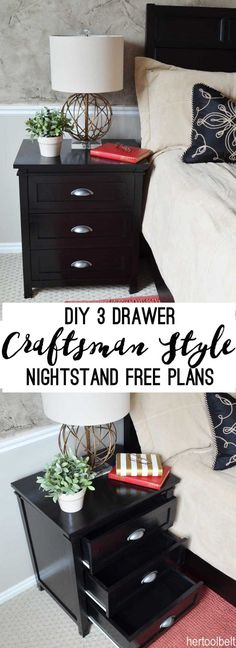 Free plans for a DIY craftsman style 3 drawer nightstand perfect for any bedroom. This nightstand will give you plenty of storage at your bedside. Furniture Plans, Bedroom Furniture, Diy Furniture, Diy Bedroom, Bedroom Drawers, Furniture Repair, Furniture Stores, Furniture Makers, Building Furniture