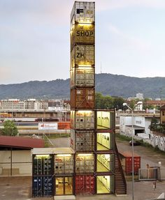 Cool Container Houses: Freitag Shop, Zurich - hope they don't have earthquakes there!