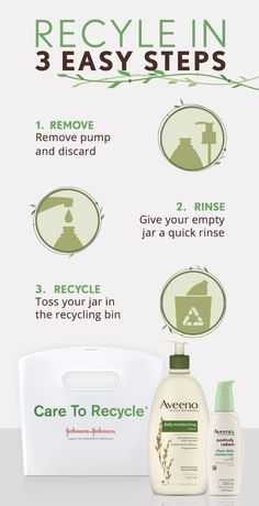 Aveeno makes recycling as easy as 1-2-3. Follow these simple steps to make a beautiful change in our world.