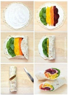Step by step rainbow tortilla wrap recipe - healthy fun food idea for kids lunch. - Step by step rainbow tortilla wrap recipe – healthy fun food idea for kids lunches from Eats Amaz - Rainbow Fruit Skewers, Rainbow Food, Rainbow Snacks, Healthy Snacks, Healthy Eating, Healthy Recipes, Whole30 Recipes, Vegetarian Recipes, Vegetarian Wraps