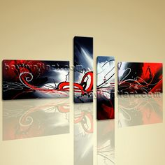 """Huge 4 pcs Wall Art Modern Abstract Contemporary Artwork Giclee Print On Canvas 4 Pieces Wall Art Inner Framed Ready To Hang BoYi 67""""x40"""""""