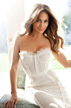 jlo - white bustier dress by dolce & gabbana.