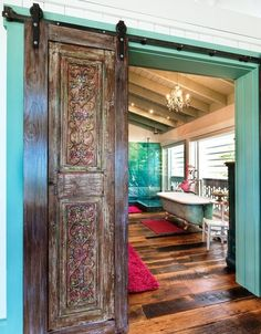 barn style door with engraving.. poor reproduction, but great idea!
