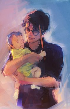 Harry holding Teddy. :) by Bianca R. Art