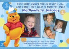 Image result for 1st birthday winnie the pooh party invitations with photo
