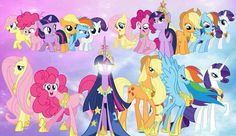 """MLP: FIM"" - the Mane Six from fillies to adults."