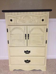 Annie Sloan Cream Dresser with Graphite top. Clear Wax